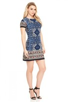 London Times T2818M Short Sleeve Moroccan Print Dress