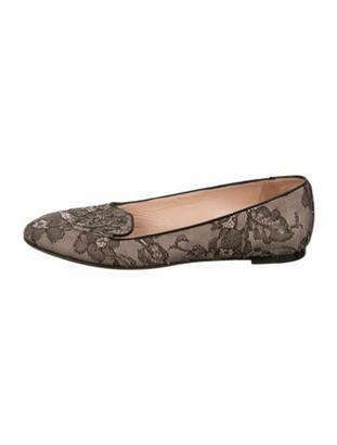Valentino Lace Pattern Ballet Flats Black