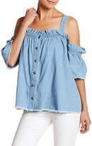 Tov Cold Shoulder Denim Shirt