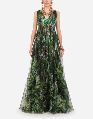 Dolce & Gabbana Long Organza Dress With Leaf Print