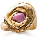 Be. Alice Posidonia & Rough Pink Sapphire Ring In Brass