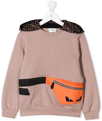 Fendi Kids Bag Bug bag print hoodie
