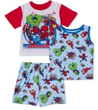 Marvel Super Hero Avengers Toddler Boy Short Sleeve & Tank Top Poly Pajamas, 3pc Set