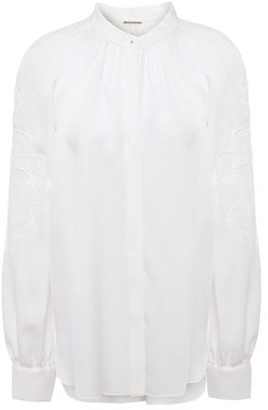 Elie Tahari Slate Guipure Lace-trimmed Silk-crepe Shirt