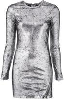 RtA metallic fitted dress - women - Lamb Skin - 4