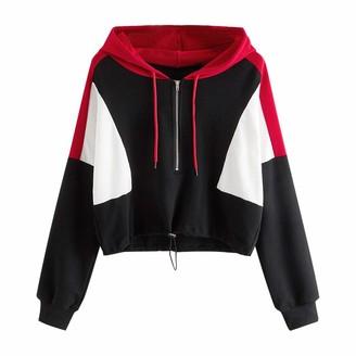 Whycat Half Zip Hoodie Women Cropped Hoodie with Colour Block Contrast Colour Hooded Jumper Adjustable Elastic Hem