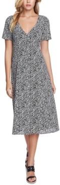1 STATE Folk Silhouette Floral-Print Midi Dress