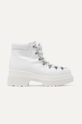 MM6 MAISON MARGIELA Lace-up Leather Ankle Boots - White