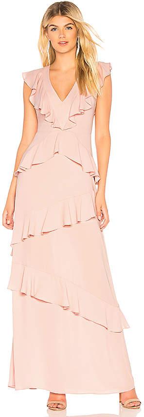 BCBGMAXAZRIA Ruffled Evening Gown