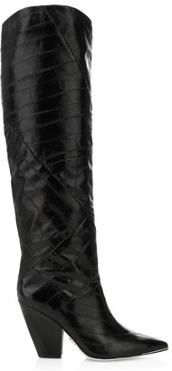 Tory Burch Lila Patchwork Eel Leather Knee-High Boots