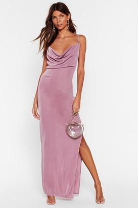 Nasty Gal Womens Cowl Do You Do It Slinky Midi Dress - Blush