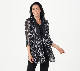 Dennis Basso Printed Woven Open-Front Duster Cardigan
