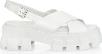 Prada Lug-Sole Leather Platform Slingback Sandals