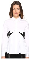 Neil Barrett Thunderbolt Popeline Stretch + Eco Suede Women's Long Sleeve Button Up