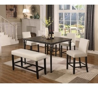 Overstock Biony Counter Height 6-Piece Espresso Wood Dining Set with Fabric Nailhead Chairs and Pub Bench