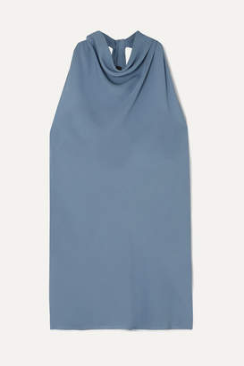 Theory Twist-back Silk-crepe Top - Blue
