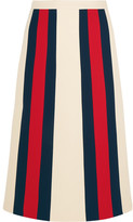 Gucci Striped Wool And Silk-blend Crepe Skirt - Ecru