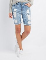 Charlotte Russe Destroyed Denim Bermuda Shorts