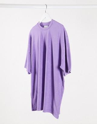 ASOS DESIGN oversized mini t-shirt dress in acid wash lilac