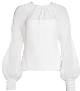 Cushnie Chiffon Silk Blouson-Sleeve Top