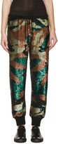 Ashish Green & Black Sequined Camo Lounge Pants