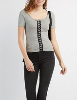 Charlotte Russe Ribbed Lace-Up Skimmer Top