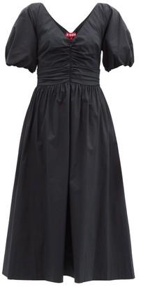 STAUD Greta Ruched Cotton-blend Dress - Black