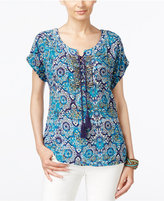 NY Collection Printed Beaded Peasant Top