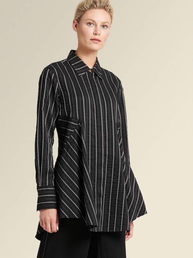 DKNY Striped Button-up Tunic