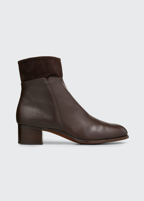 Gravati Leather Booties w/ Suede Collar