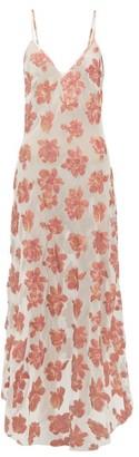 Raey Dip-hem Tinsel And Sheer Silk-blend Slip Dress - Womens - Pink Multi