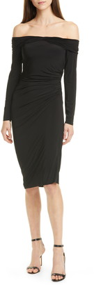 Jason Wu Collection Off the Shoulder Long Sleeve Jersey Evening Dress