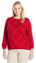 Alfred Dunner Women's Petite Classic Sequin Embellished Grid Sweater