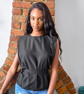 Asos Tall ASOS DESIGN Tall tee with shoulder pad and belt detail in black