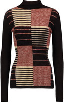 Autumn Cashmere Ribbed Intarsia Cashmere Turtleneck Sweater