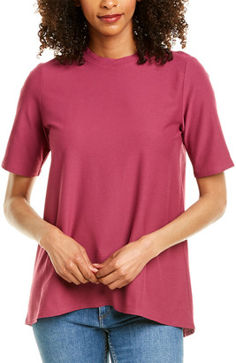 Eileen Fisher Stretch Crepe Mock Neck T-Shirt