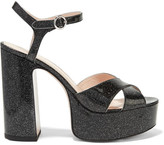 Marc Jacobs Lust Glittered Leather Platform Sandals - Black