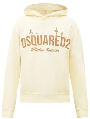DSQUARED2 Logo-print Cotton-jersey Hooded Sweatshirt - Yellow