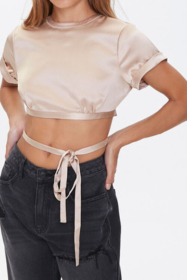 Forever 21 Satin Tie-Back Crop Top