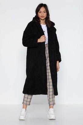 Nasty Gal Womens Go Long Faux Shearling Coat - Black