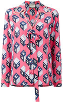 Gucci printed pearl trim top - women - Silk - 40