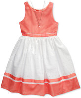Sweet Heart Rose 2-Pc. Eyelet Dress & Necklace Set, Big Girls (7-16)