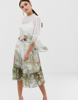 Ted Baker Brooki wonderland printed ruffle midi dress