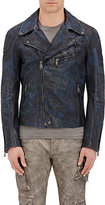 Ralph Lauren Black Label MEN'S CAMOUFLAGE LEATHER MOTO JACKET-NAVY SIZE XXL