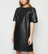 New Look Petite Leather-Look Puff Sleeve Tunic Dress