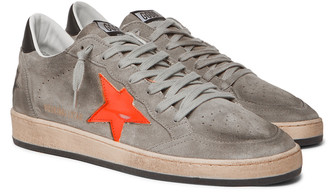 Golden Goose Ball Star Distressed Leather-Trimmed Suede Sneakers
