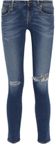 R 13 Kate Distressed Low-rise Skinny Jeans - Mid denim