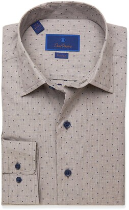 David Donahue Fusion Regular Fit Dot Dress Shirt