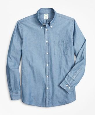 Brooks Brothers Milano Slim-Fit Sport Shirt, Indigo Chambray