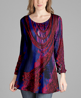 Lily Red & Blue Scoop Neck Tunic - Plus Too